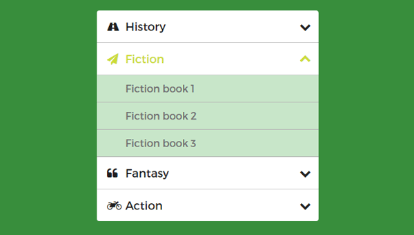 Green Accordion Menu