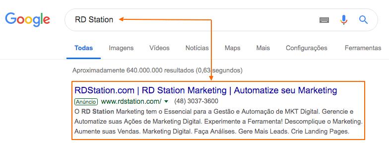 Google Ads - Exemplo de resultado de mídia paga